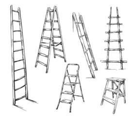 Ladders drawing, vector illustration