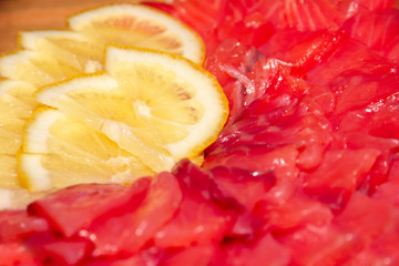 pieces of fresh salted salmon and lemon slices