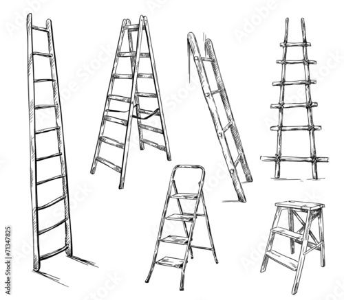 Ladders drawing, vector illustration - 71347825
