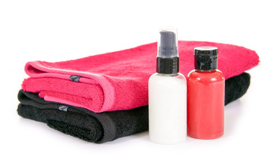 Handtücher und Kosmetika