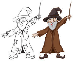 Sketches of a wizard in two colours