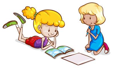 Little girls studying