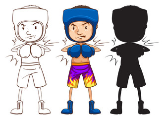 A sketch of a male boxer in three different colours