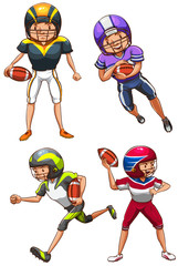 A simple coloured sketch of the American football players