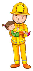 A coloured sketch of a fireman saving a child