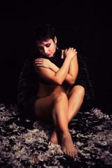 brunette girl with black wings, dark angel