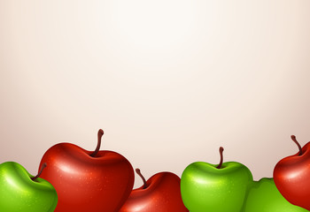 A template with red and green apples