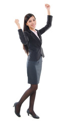 Asian business woman cheering