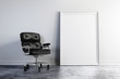 3d armchair and blank white frame , clean interior setup