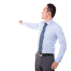 Businessman hand pointing away