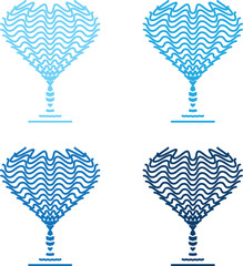 four blue wineglasses