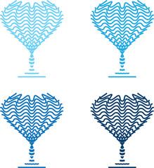 four blue wineglasses