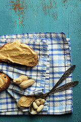 Still life with nuts and fresh peanut butter
