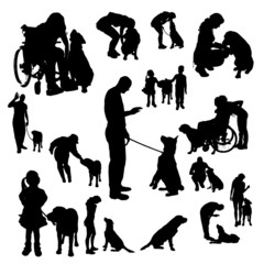 Vector silhouette of people with a dog.