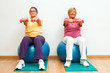Two elderly women doing muscle exercises with weights in gym.