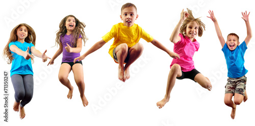 happy children exercising and jumping - 71350247