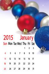 2015 Calendar. January.