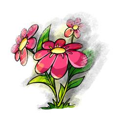Pink cartoon flowers