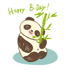 cute animal panda with bamboo