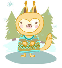 cute animal squirrel in the winter and the Christmas tree