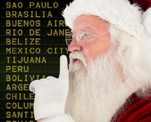 Composite image of santa claus making quiet sign
