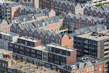 Aerial cityscape residential area of The Hague, The Netherlands