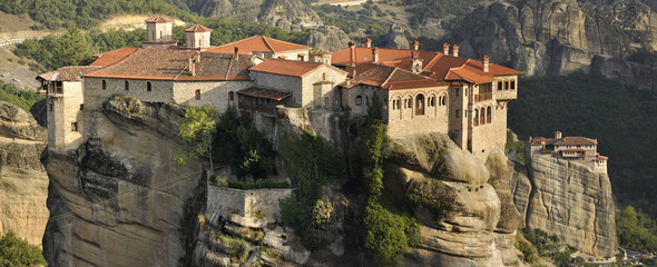 Vaarlam monastery and Rousano monastery in the back at Meteora.