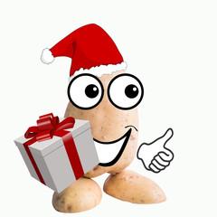 little potato man santa claus with gift