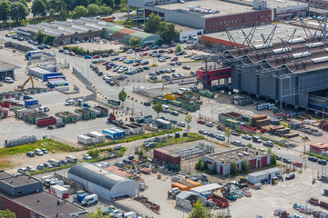 Aerial cityscape of an industrial site of The Hague