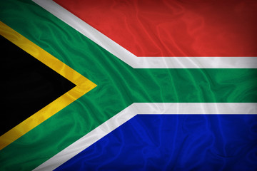 South Africa flag pattern on the fabric texture ,vintage style
