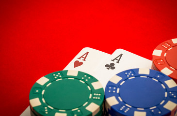 Chips and pair of aces