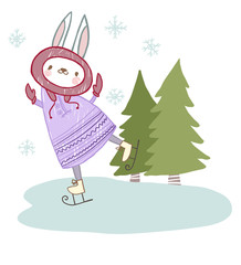 cute animal bunny rolling around on the ice Christmas trees
