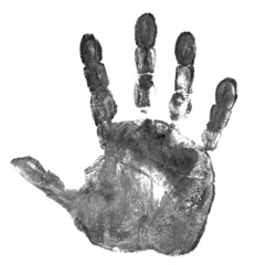 black hand print isolated on white
