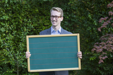 young businessman with a panel