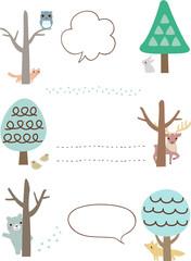 冬の木と動物のフレーム