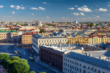 Scenic view on Saint-Petersburg city from the colonnade of St. I