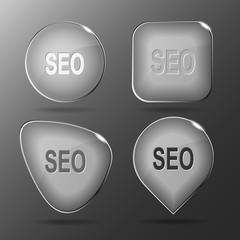 Seo. Glass buttons. Vector illustration.