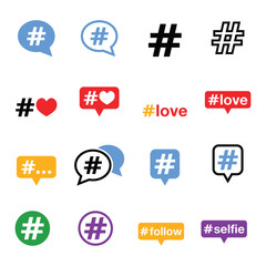 Hashtag, social media icons set
