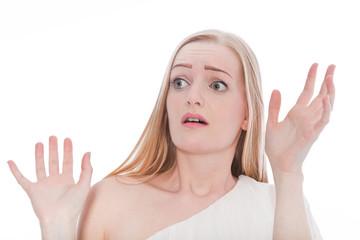 Pretty Blond Woman Shocked Reaction