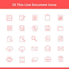 Set of Thin Line Stroke Document Icons