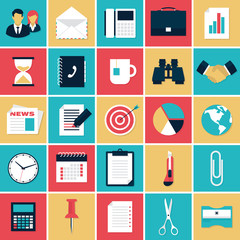 Flat icons set of business elements and office equipment