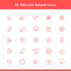 Set of Thin Line Stroke Natural Icons