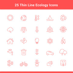 Set of Thin Line Stroke Ecology Icons