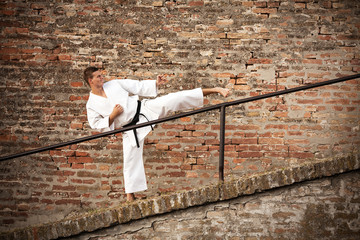 Martial artist executing a side kick in front of a brick wall