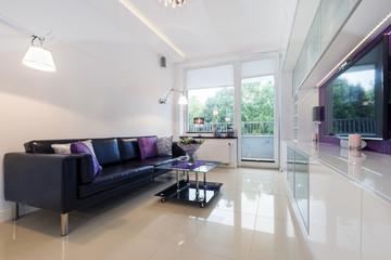 Modern living room in white design