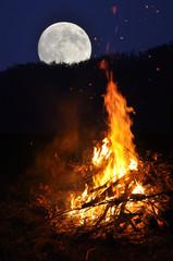 Fire under moonlight