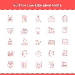 Set of Thin Line Stroke Education Icons