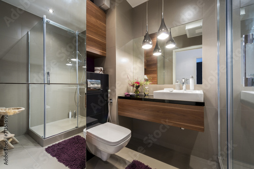 canvas print picture Modern grey and beige bathroom