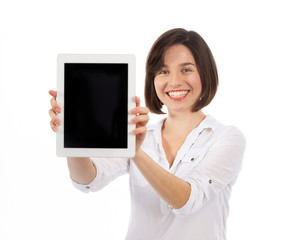 Pretty brunette presenting a digital tablet