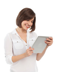 Smiling woman holding an electronic tablet